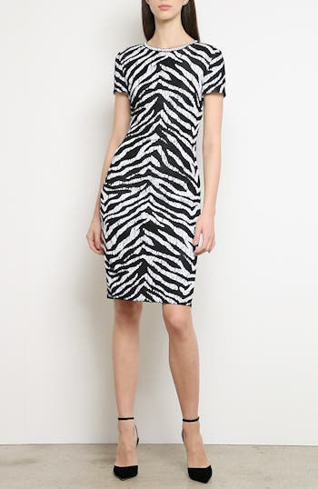 Sculpted Zebra Jacquard Sweater Dress, video thumbnail