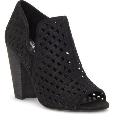 Vince Camuto Korlettan Perforated Peep Toe Bootie, Black