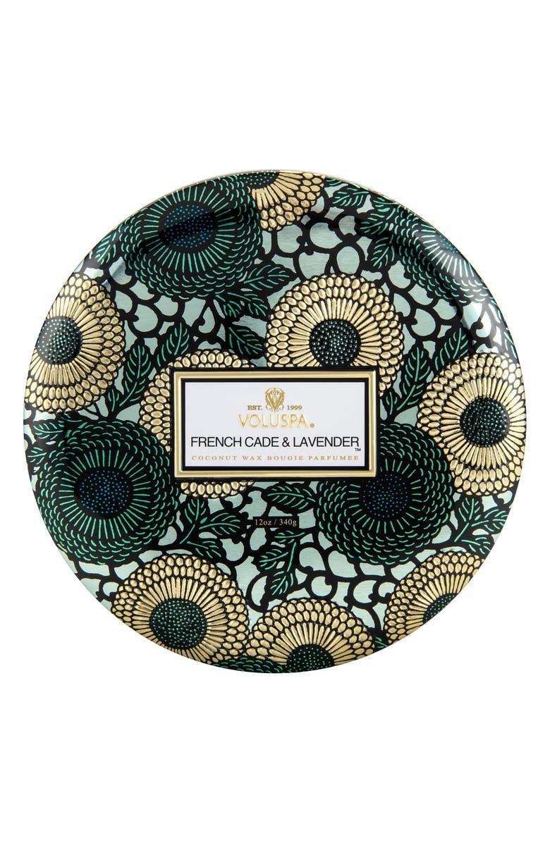 VOLUSPA Japonica French Cade Lavender Three-Wick Decorative Tin Candle, Main, color, 000