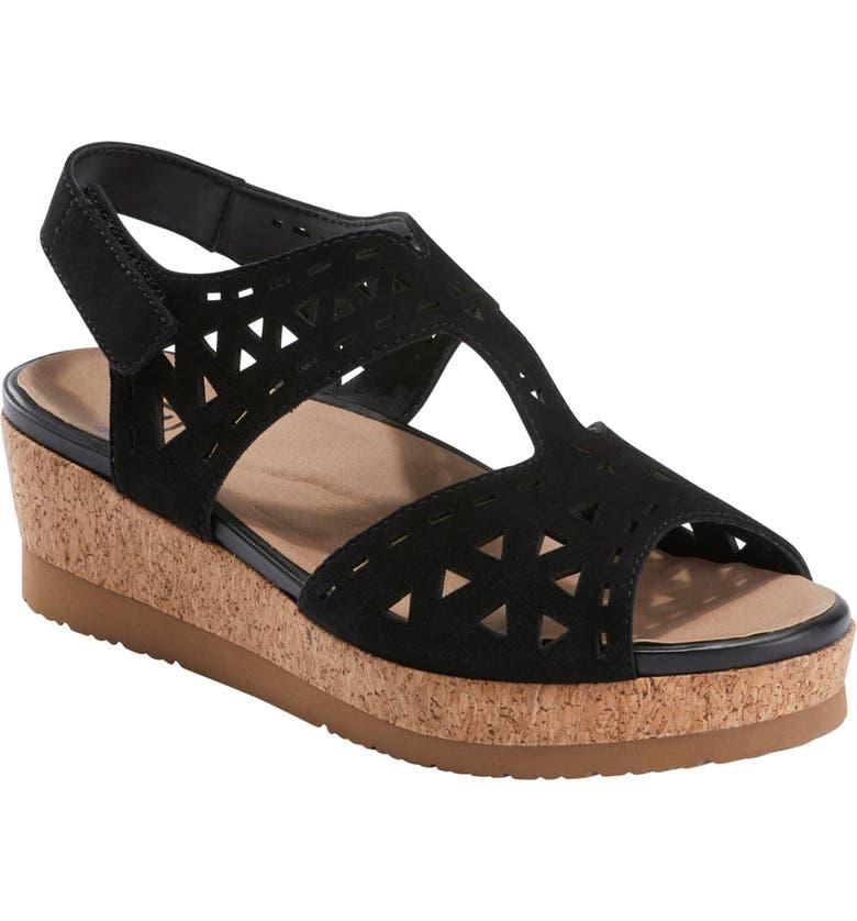 EARTH<SUP>®</SUP> Buran Rosa Wedge Sandal, Main, color, BLACK SUEDE