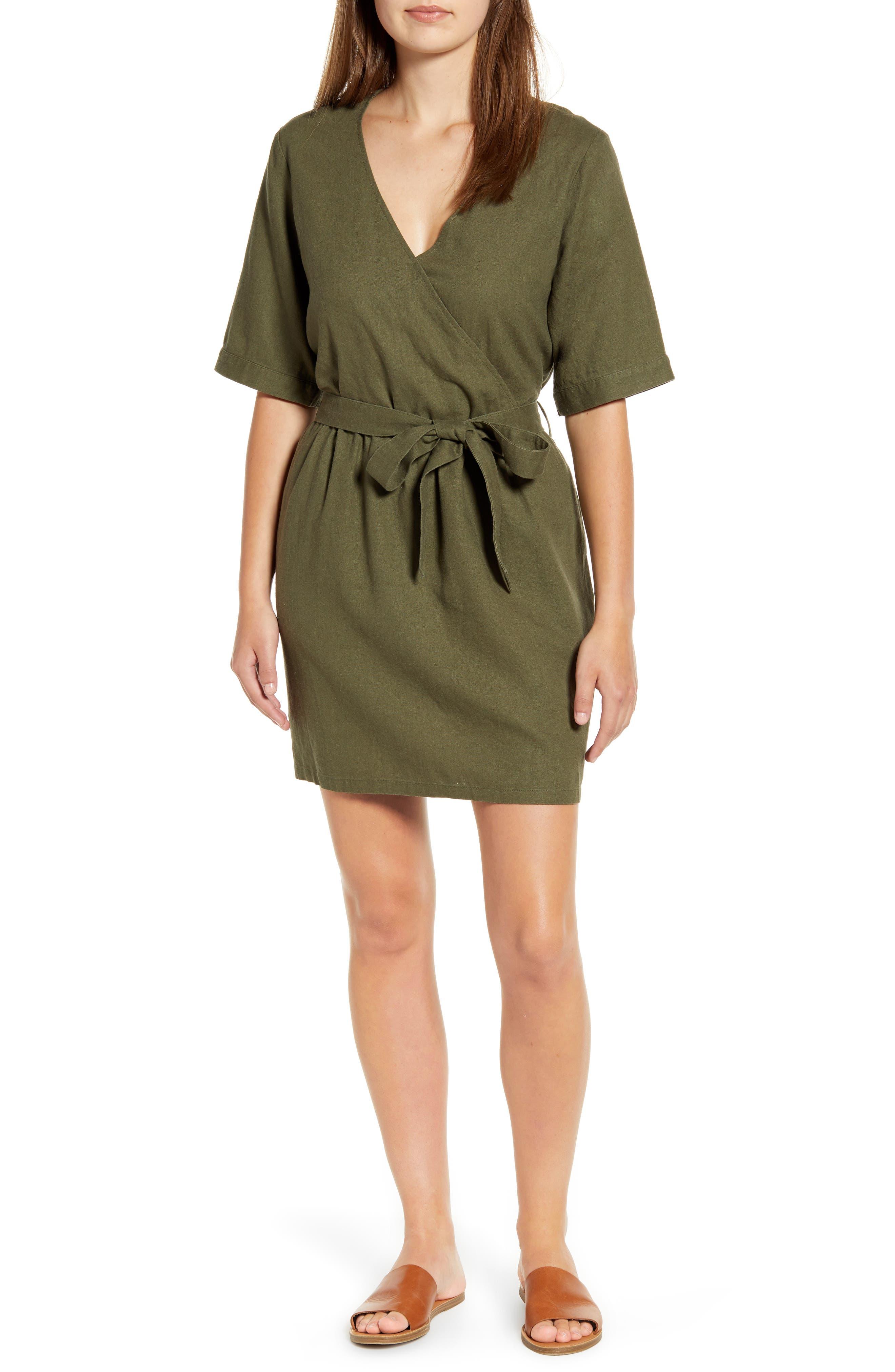 Petite Caslon Linen Blend Faux Wrap Dress, Green