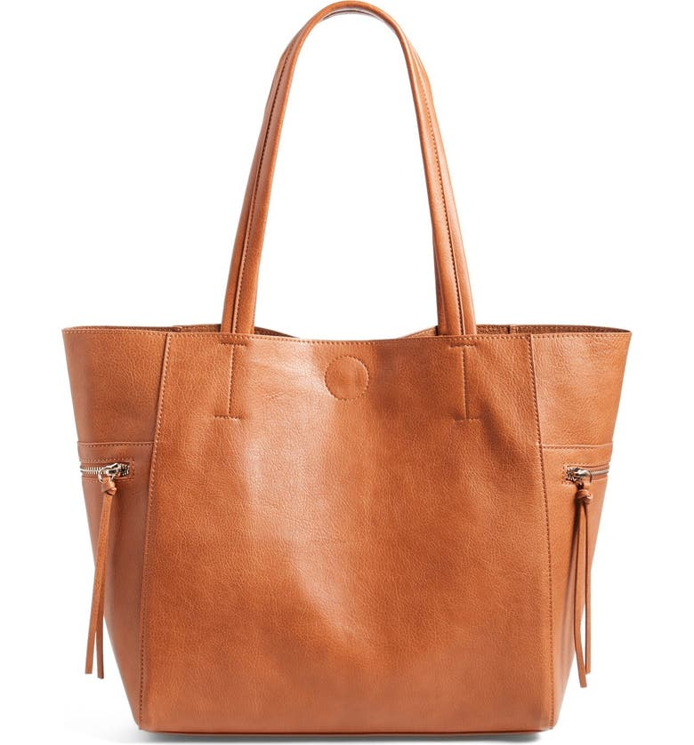 EMPERIA Side Zip Faux Leather Tote, Main, color, 200