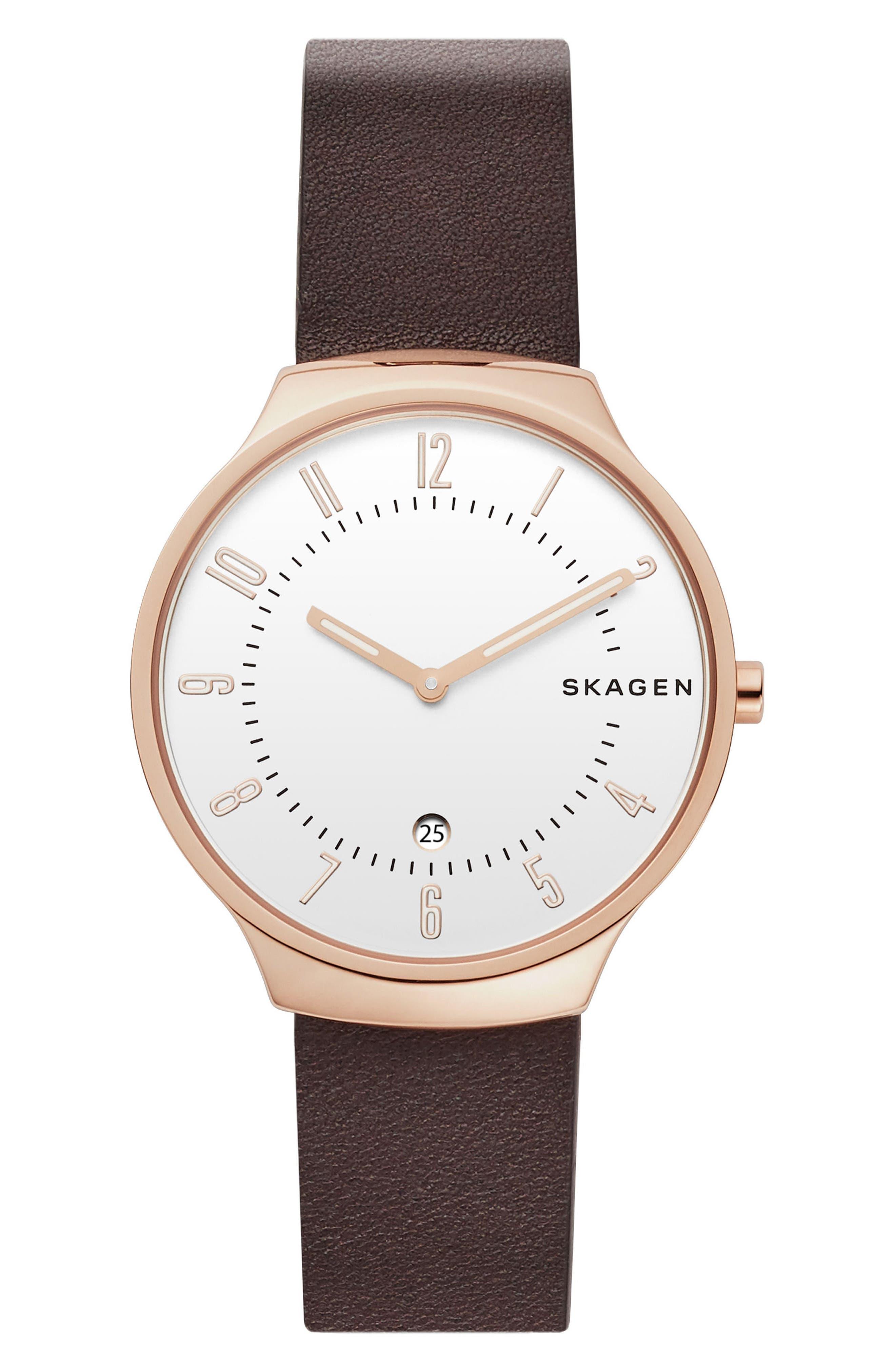 women's skagen grenen leather strap watch, 38mm