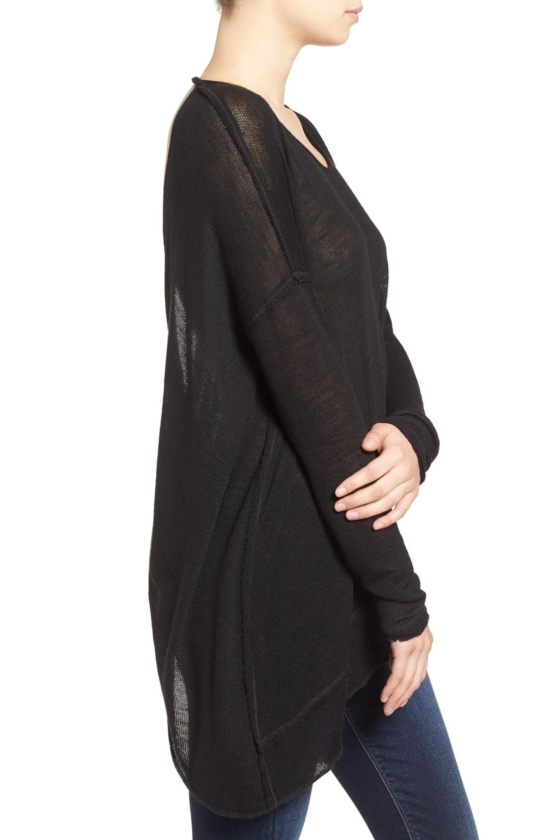 ,                             'Shadow' Oversize Hacci Open Back Top,                             Alternate thumbnail 4, color,                             001