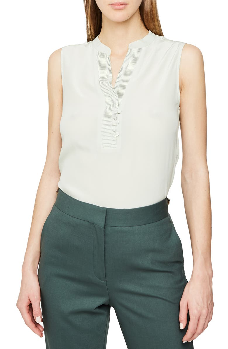 REISS Cecily Pleat Detail Sleeveless Silk Blouse, Main, color, 351