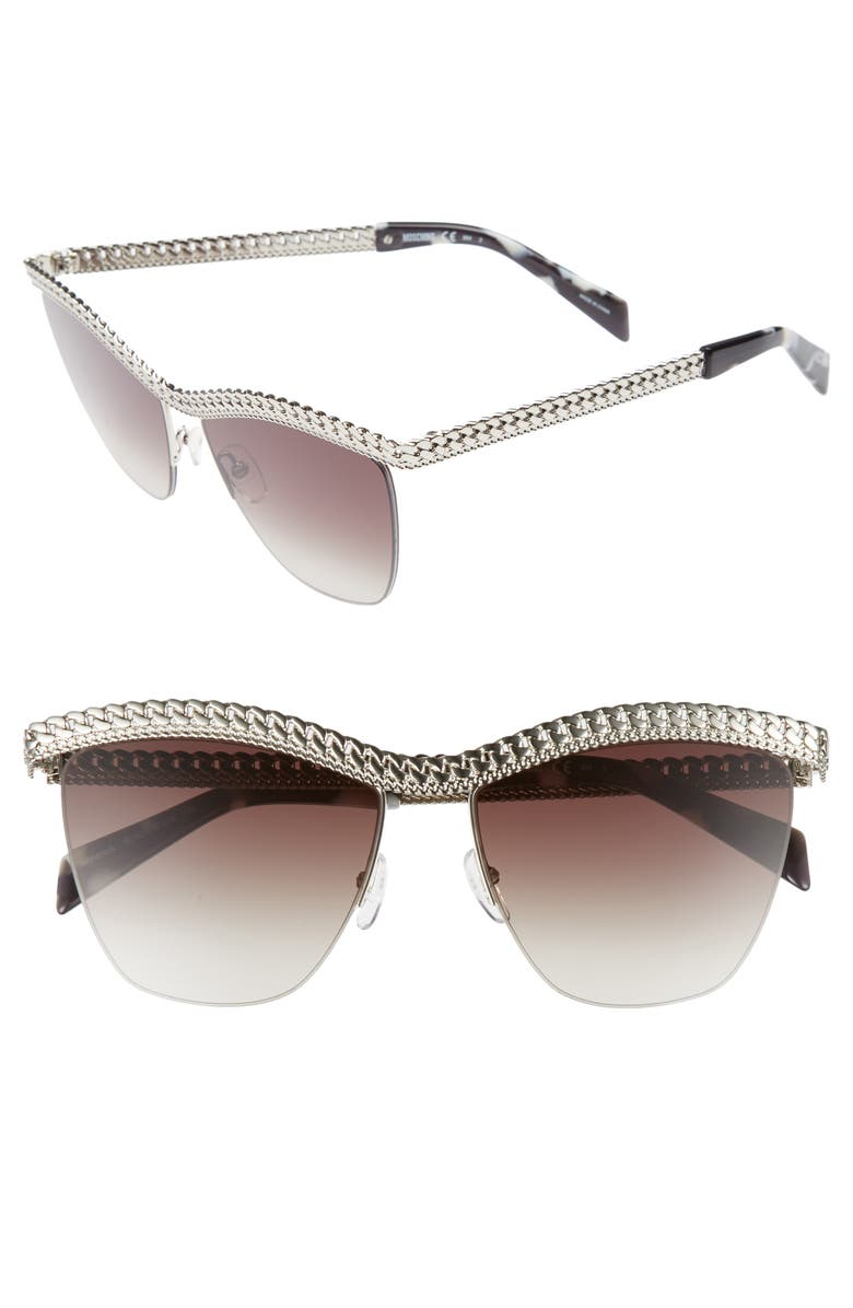 MOSCHINO 57mm Rimless Metal Bar Polarized Sunglasses, Main, color, 040