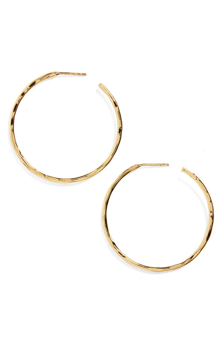 ARGENTO VIVO Medium Hammered Hoop Earrings, Main, color, GOLD