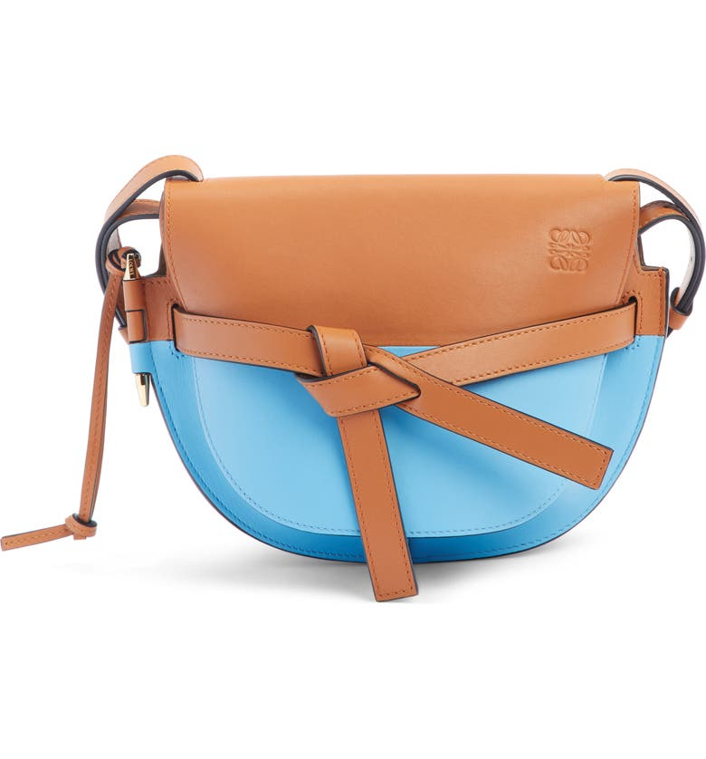 LOEWE Small Gate Colorblock Calfskin Crossbody Bag, Main, color, TAN/ SKY BLUE
