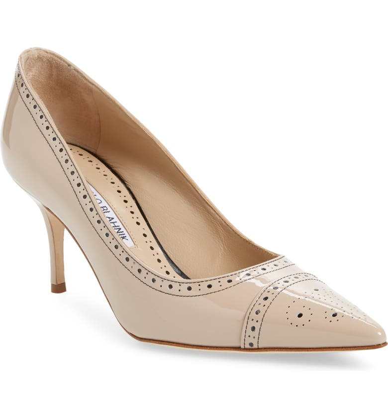 MANOLO BLAHNIK Quitohi Brogue Pointed Toe Pump, Main, color, 280