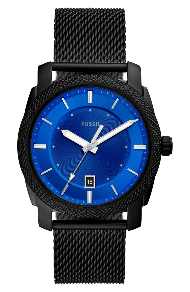 FOSSIL Machine Mesh Strap Watch, 42mm, Main, color, BLACK/ BLUE/ BLACK