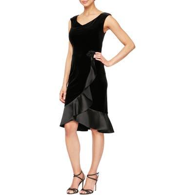 Alex Evenings Satin Trim Velvet Cocktail Dress, Black