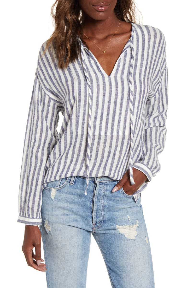 RAILS Nina Stripe Metallic Detail Linen Blend Blouse, Main, color, RIO STRIPE