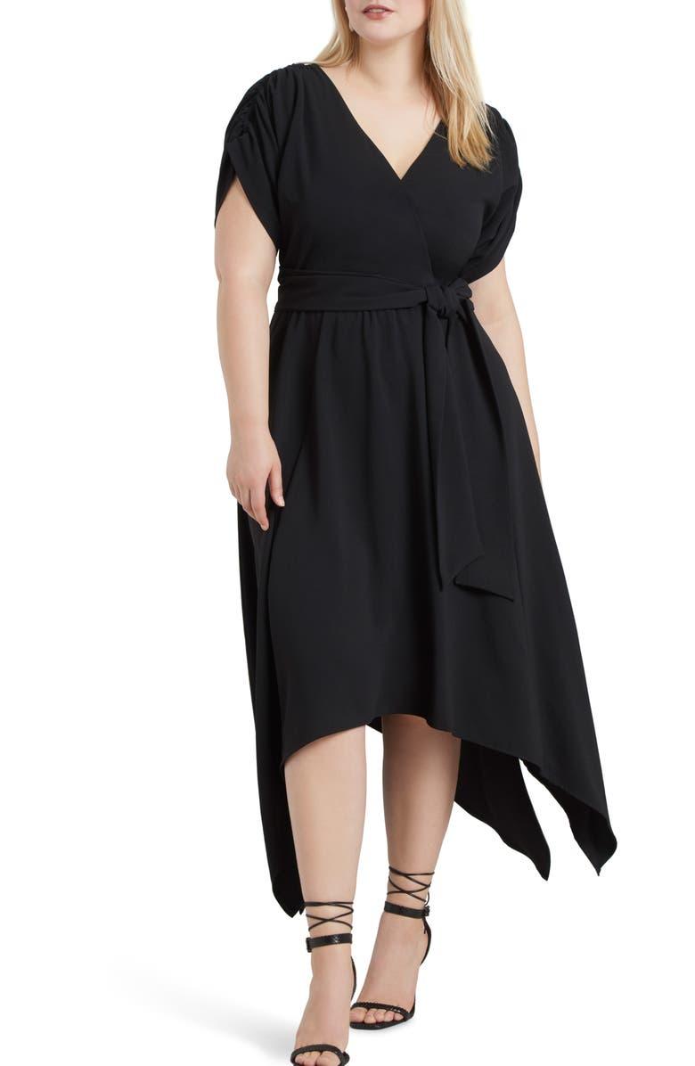 ELOQUII Handkerchief Hem Dress, Main, color, BLACK