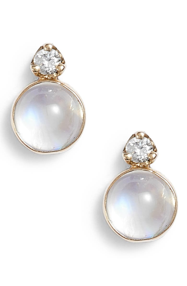 ZOË CHICCO Moonstone & Diamond Stud Earrings, Main, color, YELLOW GOLD/ MOONSTONE