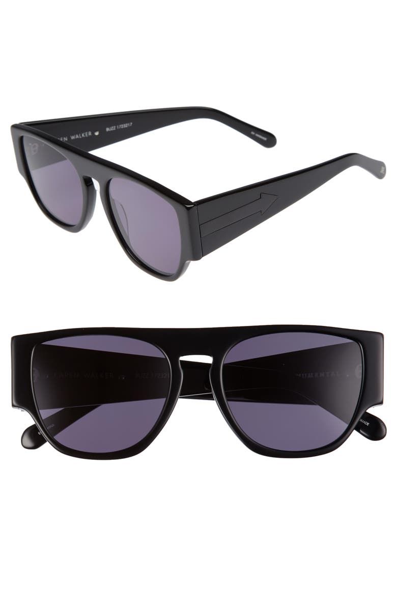 KAREN WALKER x Monumental Buzz 53mm Sunglasses, Main, color, BLACK