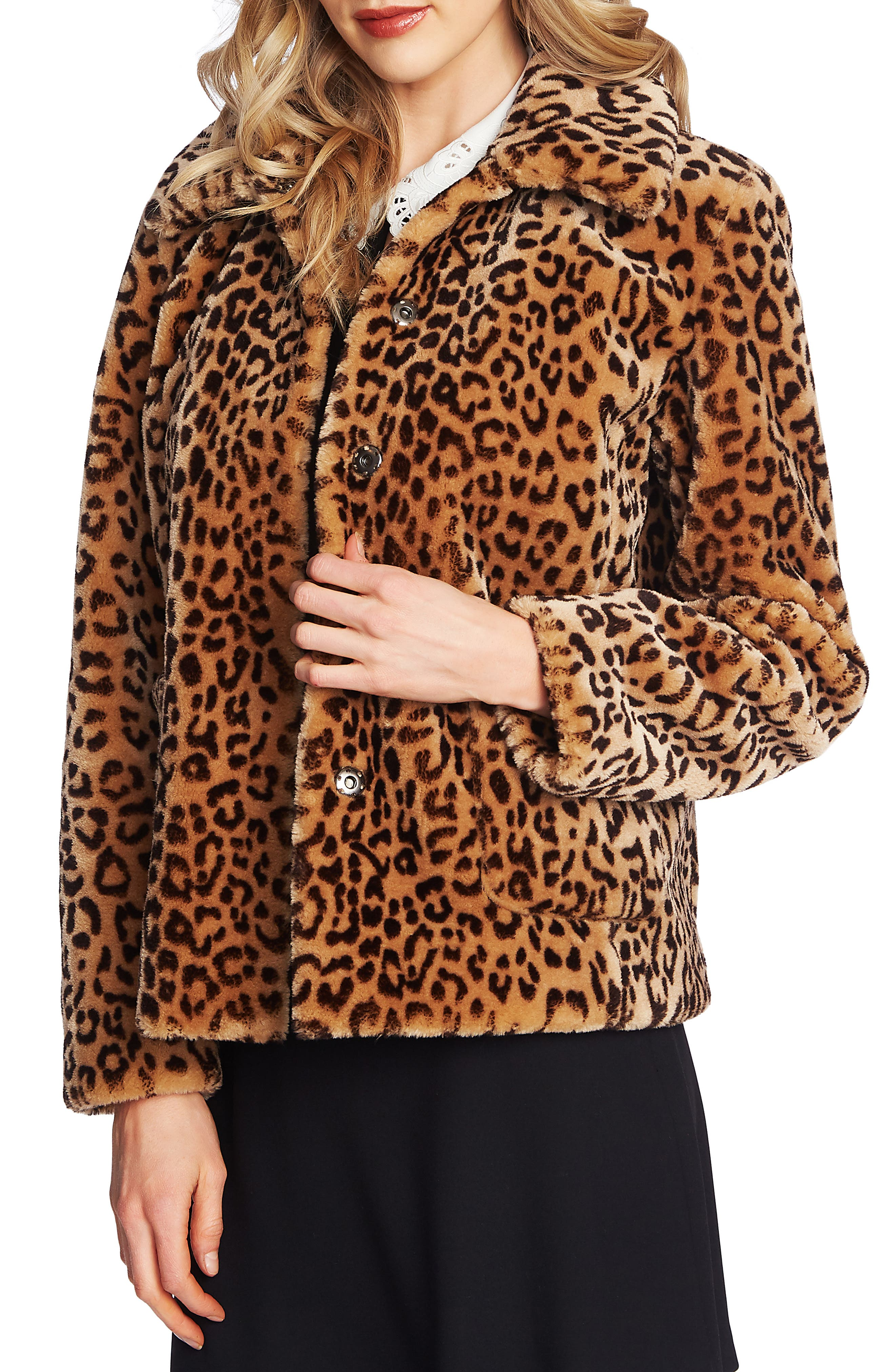 Image of CeCe by Cynthia Steffe Leopard Faux Fur Jacket