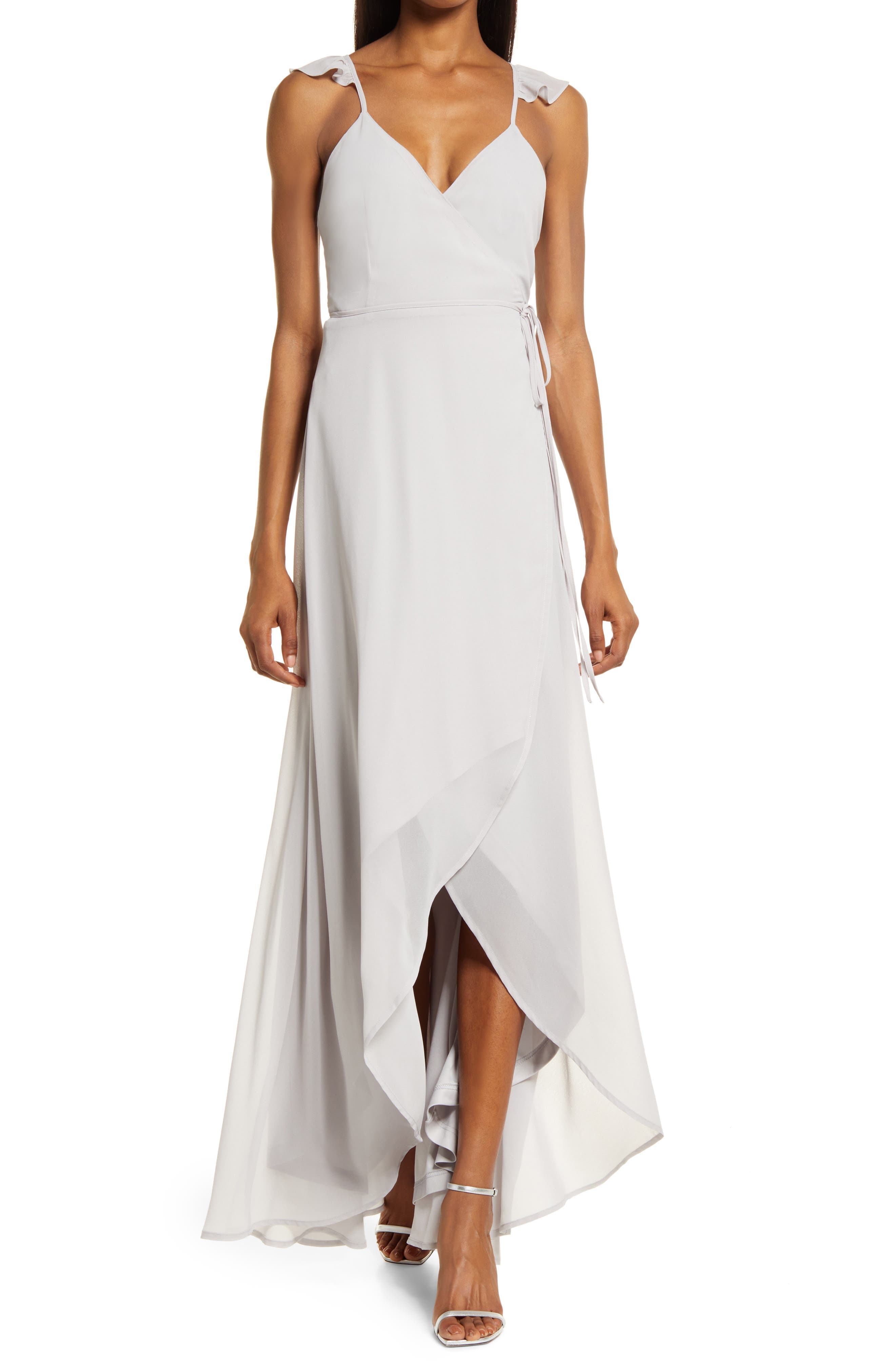 Here'S To Us High/low Wrap Evening Dress