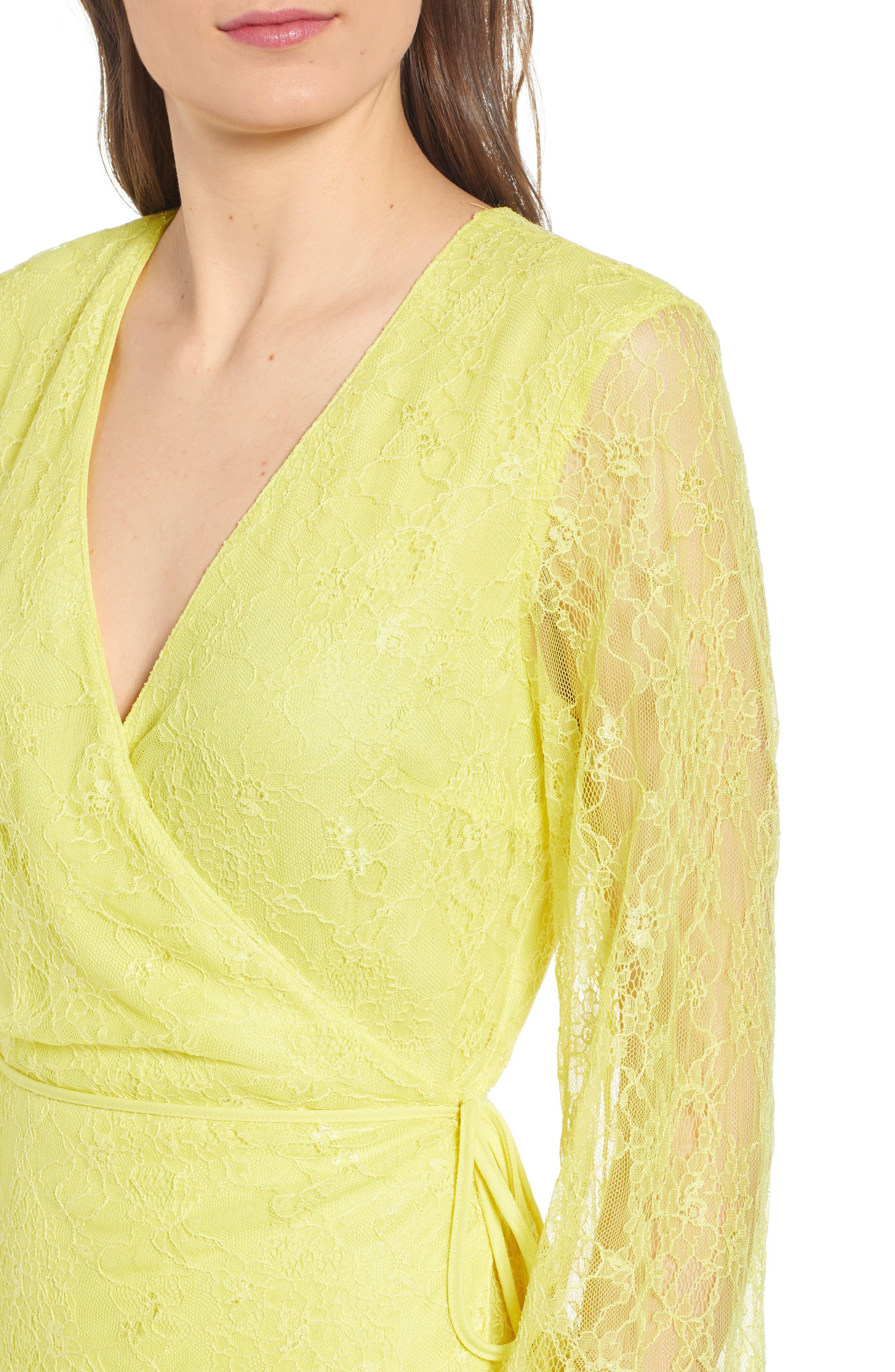 ,                             Lesley Lace Long Sleeve Wrap Dress,                             Alternate thumbnail 5, color,                             CITRON YELLOW