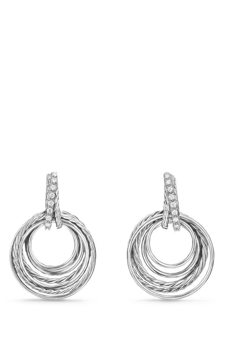 DAVID YURMAN Crossover Drop Earrings with Diamonds, Main, color, SILVER