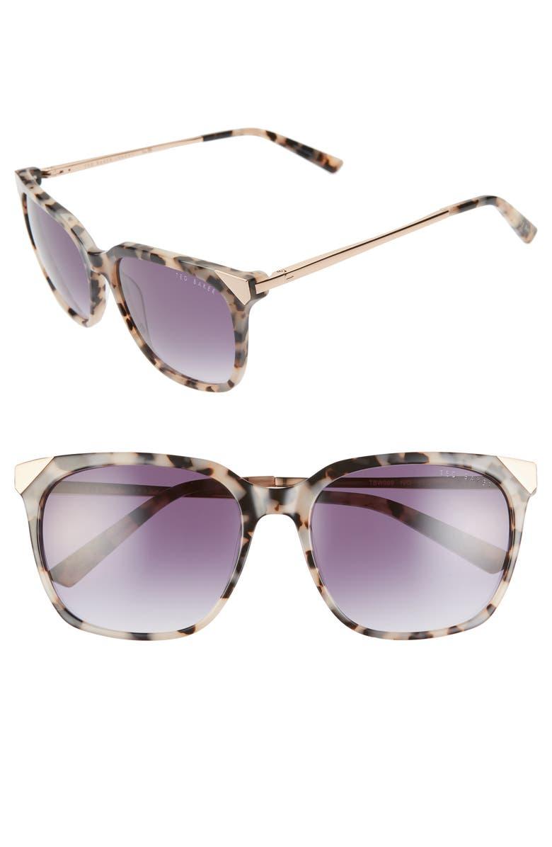 TED BAKER LONDON 55mm Square Sunglasses, Main, color, IVORY HAVANA/ BLUE