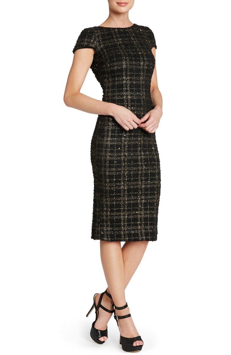 DRESS THE POPULATION 'Marcella' Open Back Sequin Plaid Body-Con Dress, Main, color, 001