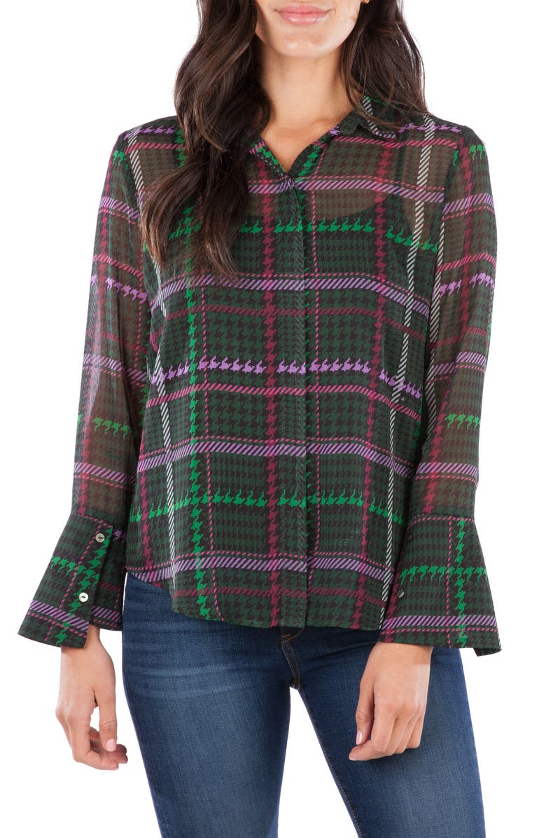 KUT FROM THE KLOTH Odelline Plaid Blouse, Main, color, EMERALD