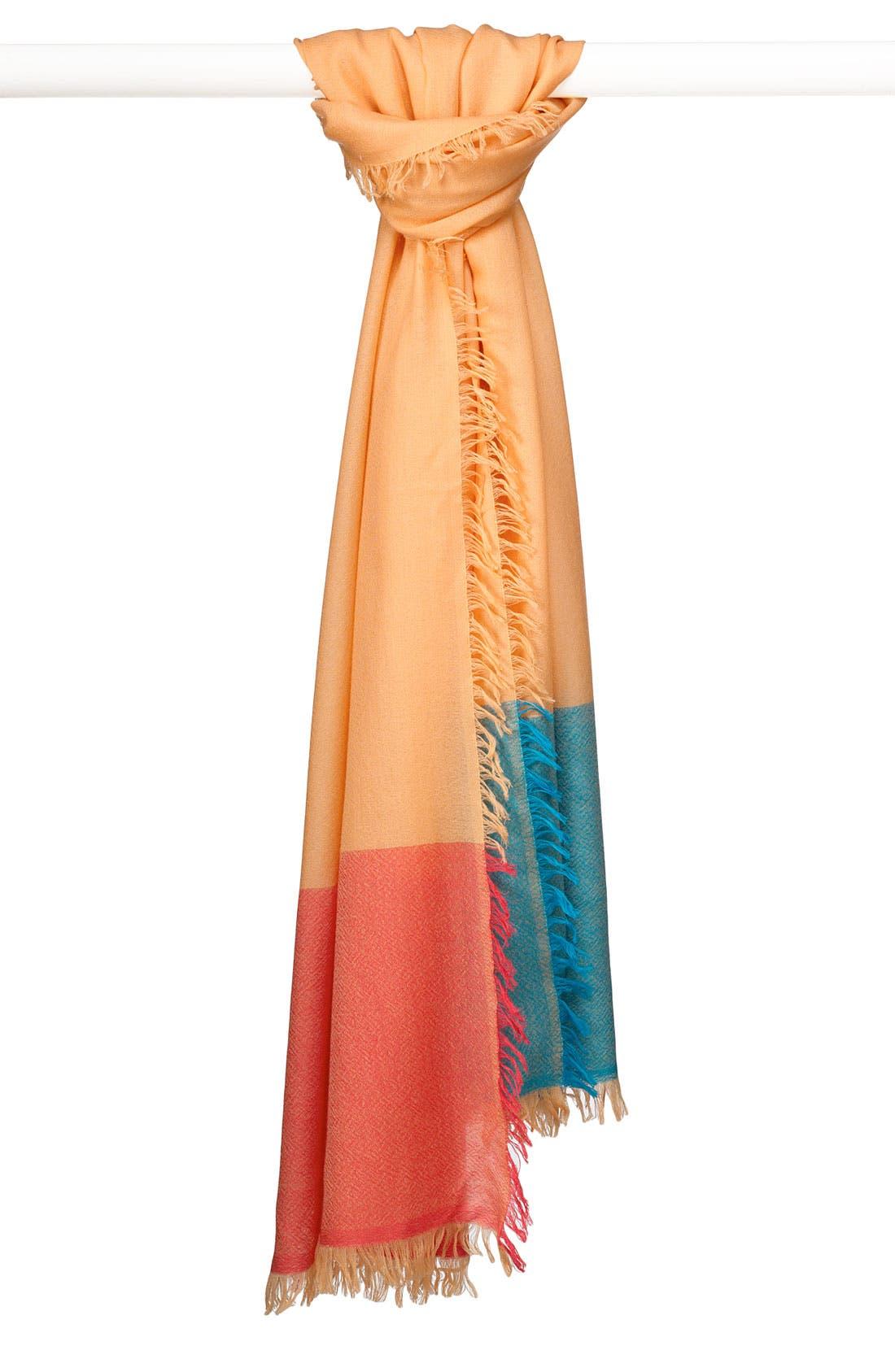 ,                             'Eyelash' Colorblock Cashmere Wrap,                             Main thumbnail 117, color,                             955