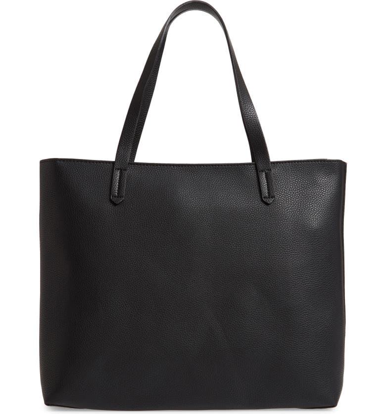 BP. Faux Leather Classic Tote, Main, color, BLACK