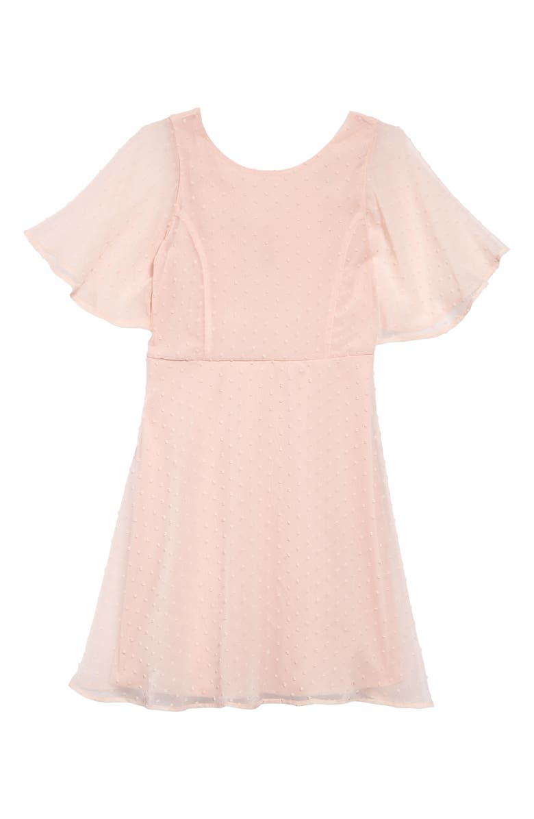 AVA & YELLY Swiss Dot Skater Dress, Main, color, BLUSH