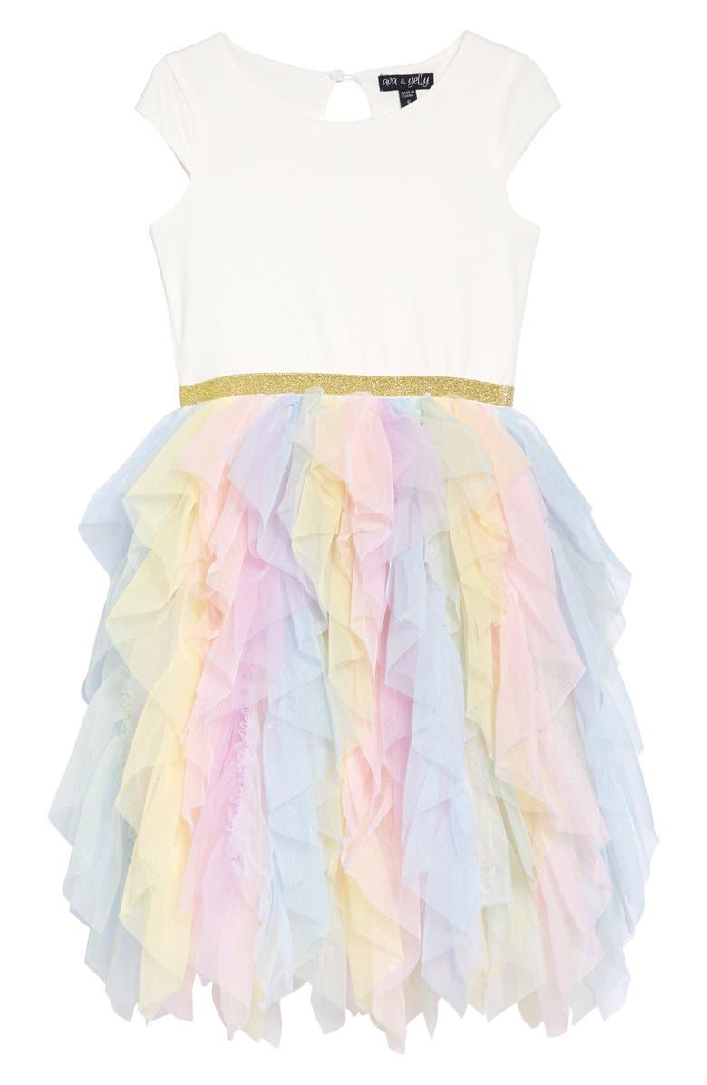 AVA & YELLY Ruffle Tutu Dress, Main, color, IVORY MULTI