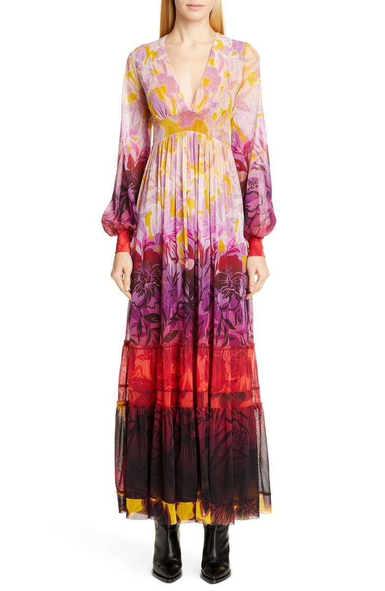FUZZI Dégradé Floral Long Sleeve Maxi Dress, Main, color, MULTICOLOR