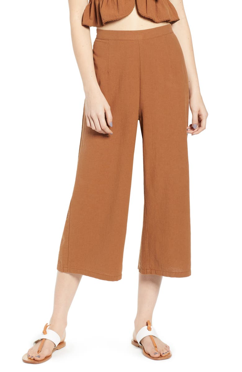 UNIONBAY Sophia Wide Leg Crop Pants, Main, color, LIGHT SEPIA