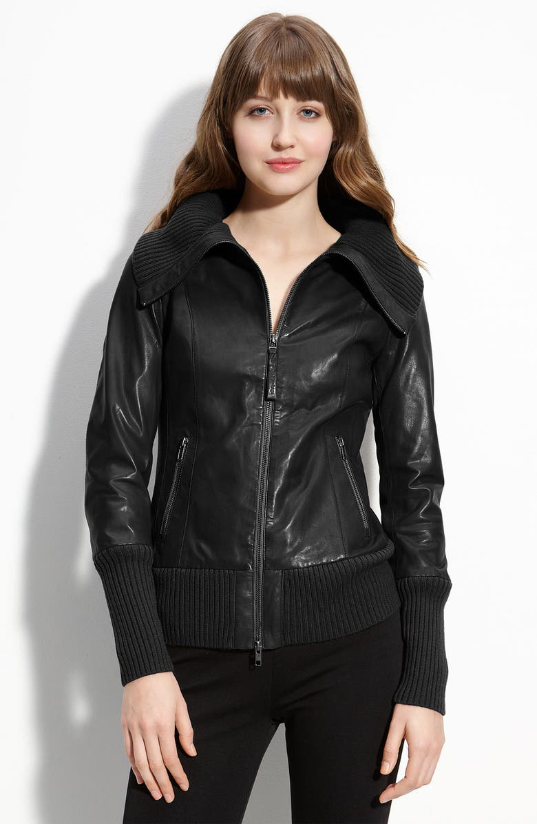 MACKAGE Knit Trim Lambskin Leather Bomber Jacket, Main, color, 001