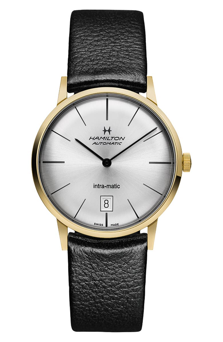 HAMILTON American Classic Intra-Matic Automatic Leather Strap Watch, 38mm, Main, color, BLACK/ SILVER/ GOLD
