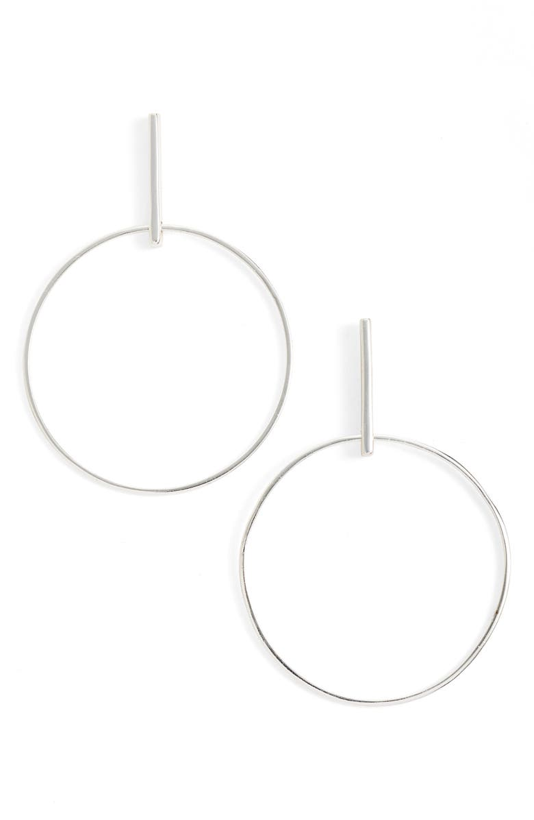 ARGENTO VIVO Frontal Hoop Earrings, Main, color, SILVER