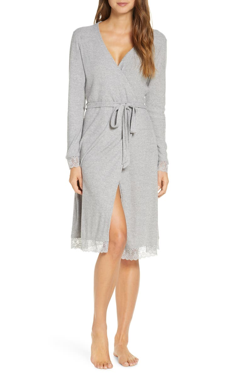 RACHEL PARCELL Lace Trim Robe, Main, color, GREY MEDIUM HEATHER