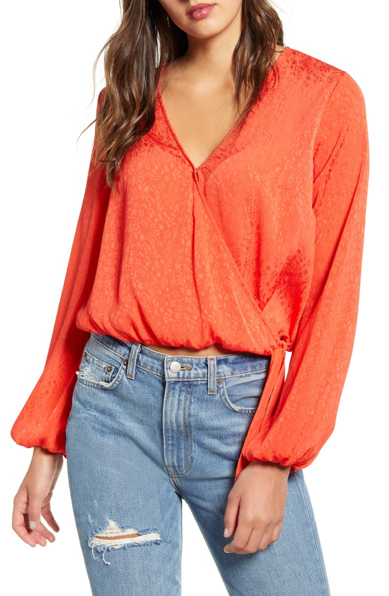 LEITH Wrap Top, Main, color, RED POPPY