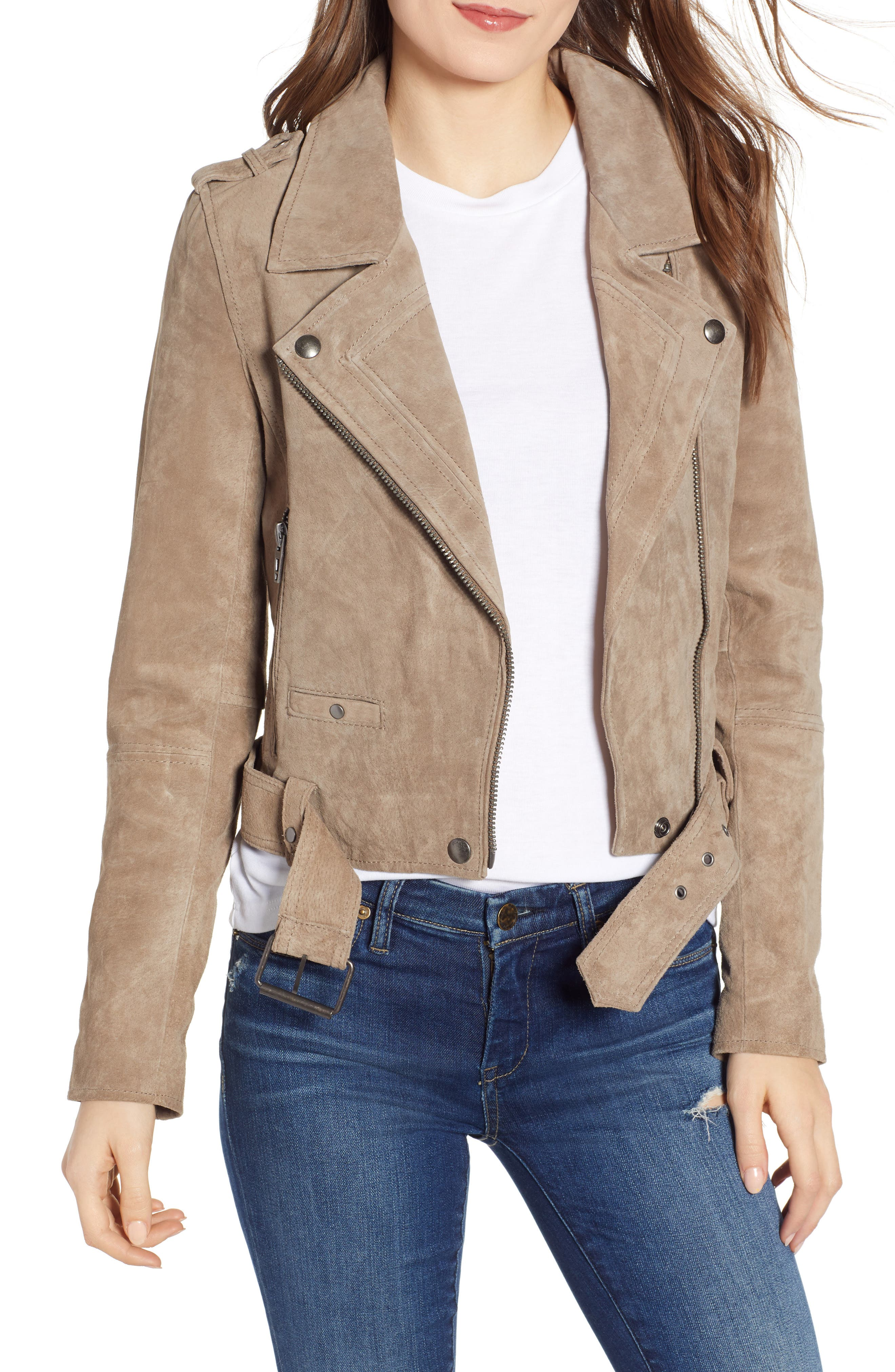 Morning Suede Moto Jacket, Main, color, FRENCH TAUPE