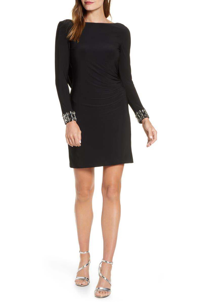 ELIZA J Crystal Cuff Drape Back Dress, Main, color, BLACK