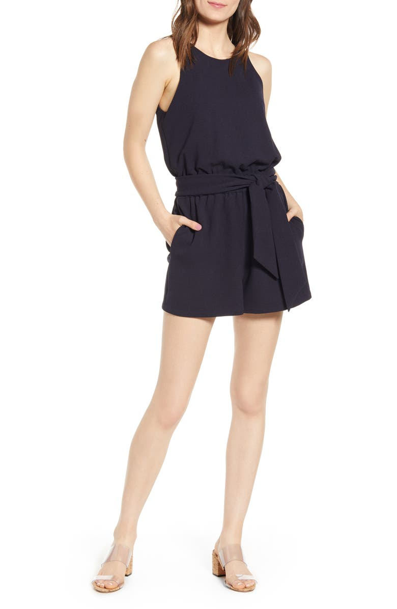 BISHOP + YOUNG Sunset Tie Waist Sleeveless Romper, Main, color, NAVY