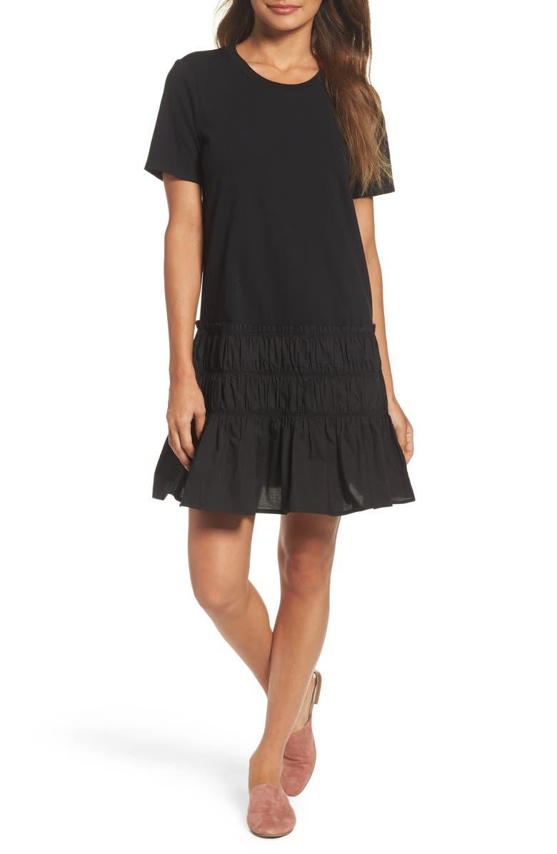 CHELSEA28 Smocked T-Shirt Dress, Main, color, 001
