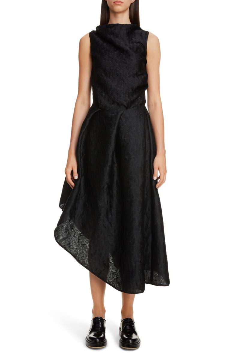 CECILIE BAHNSEN Elba Wave Plissé Asymmetrical Dress, Main, color, BLACK