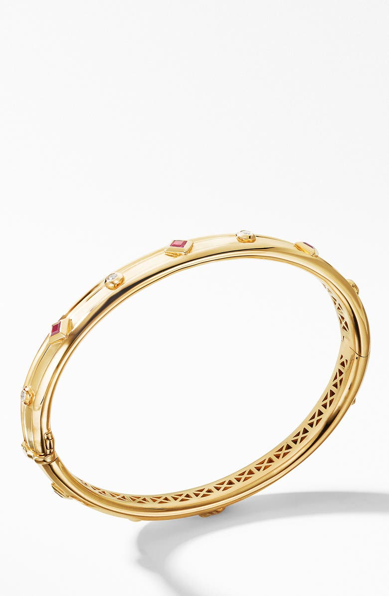 DAVID YURMAN Renaissance Bracelet with Diamonds in 18K Gold, Main, color, YELLOW GOLD/ RUBY