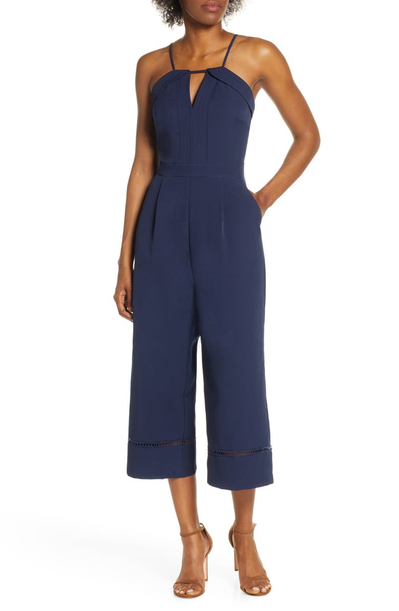 ADELYN RAE Layla Culotte Jumpsuit, Main, color, NAVY