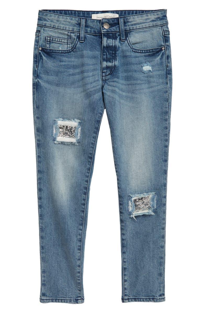 TREASURE & BOND Sequin Patch Jeans, Main, color, VINTAGE WASH