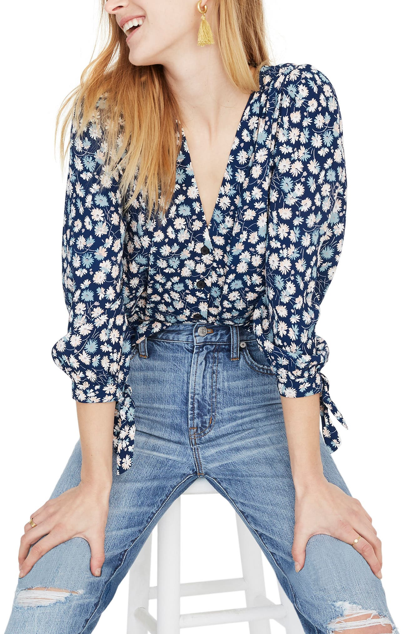 Tie Sleeve Button Down Top, Main, color, 400