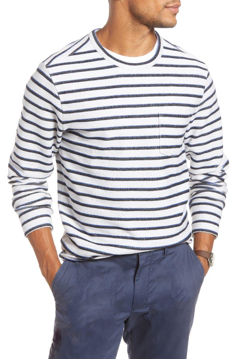 1901 Stripe Long SleeveTerry Pocket T-Shirt, Main, color, WHITE NAVY IRIS STRIPE