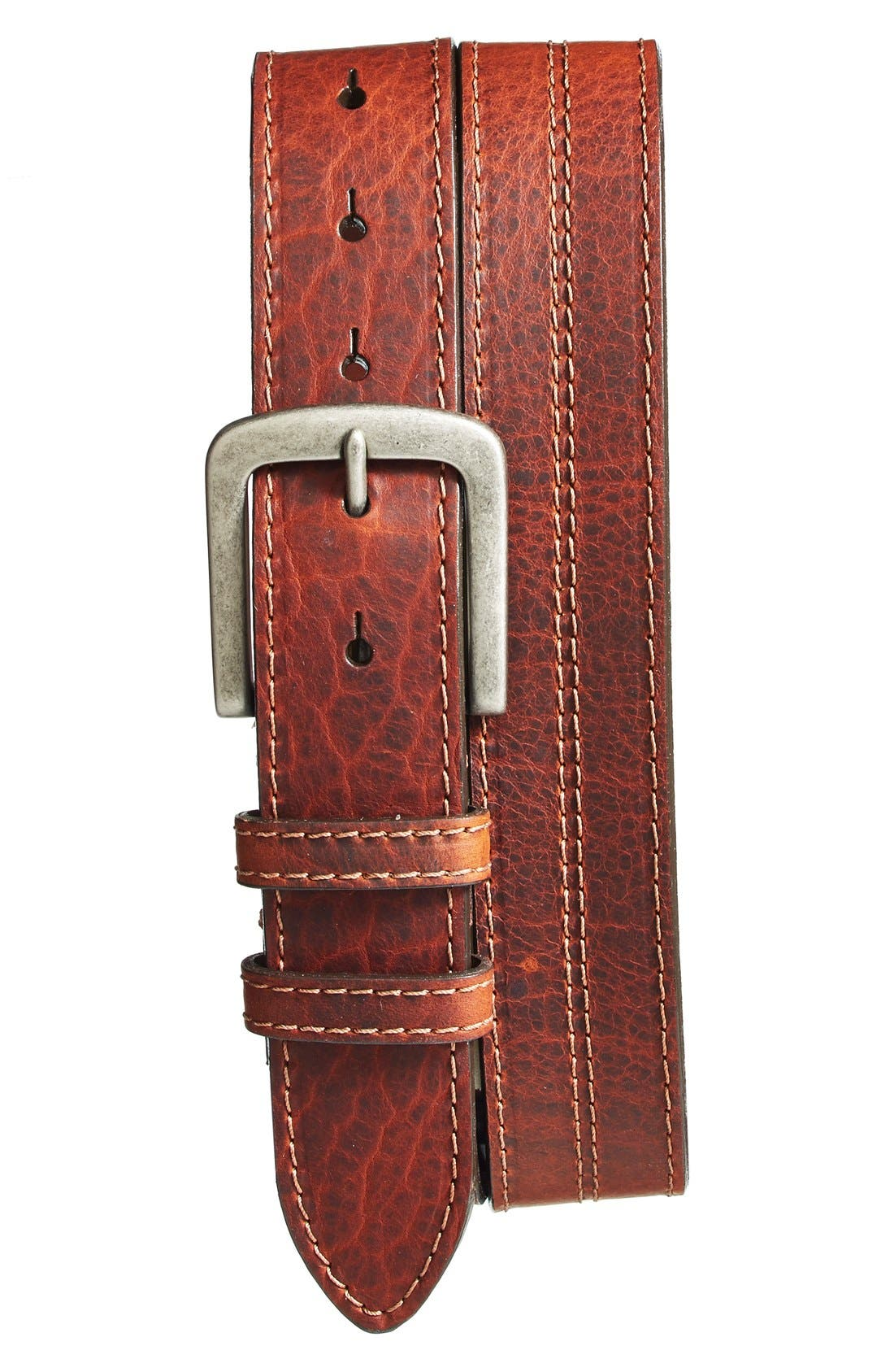 Neat contrast topstitching outlines a richly grained belt cut from rugged, genuine American bison leather and secured with a brushed nickel buckle. Style Name: Torino Bison Leather Belt. Style Number: 5080188. Available in stores.