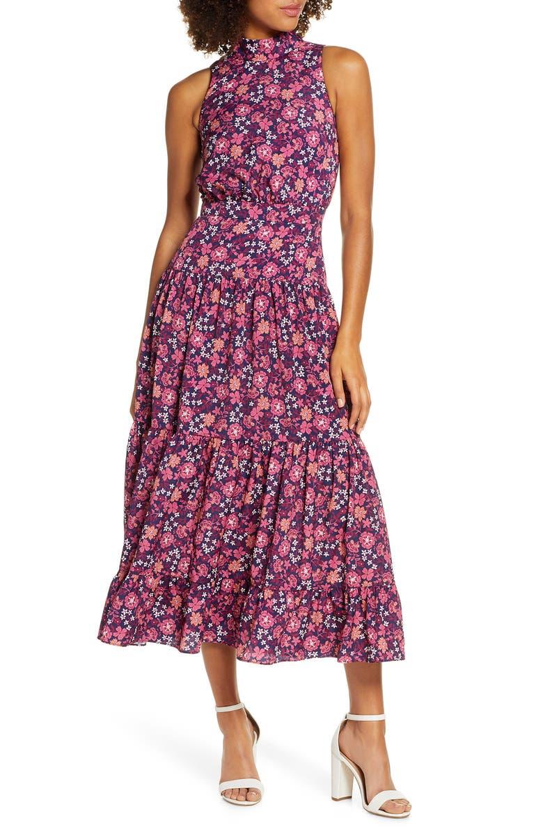CHELSEA28 Floral Print Halter Neck Midi Dress, Main, color, PINK FLORAL