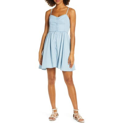 French Connection Button Front Dress, Blue